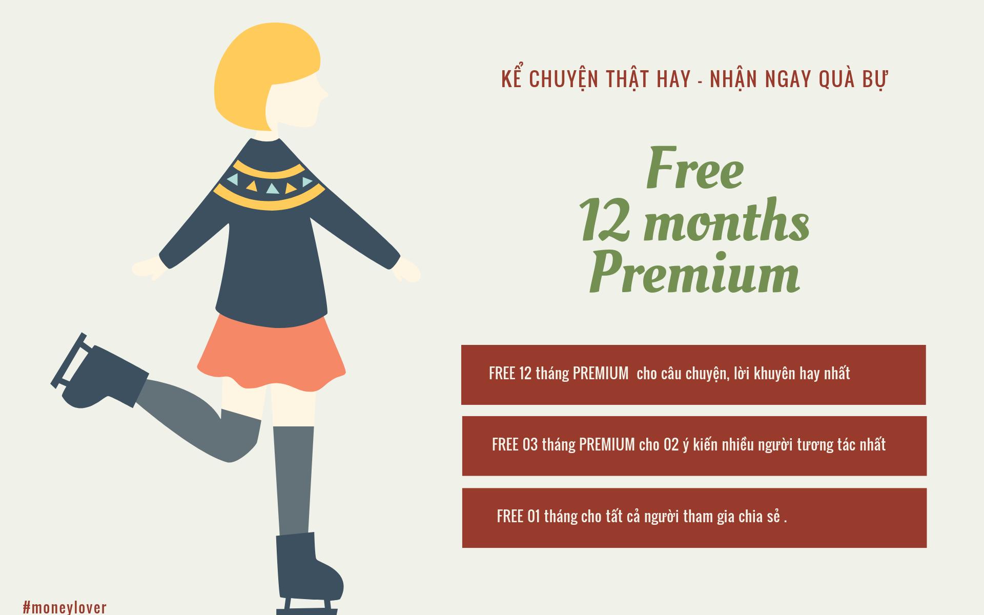 Money lover tặng 12 tháng sử dụng Premiem chương trình tiết kiệm hay trải nghiệm